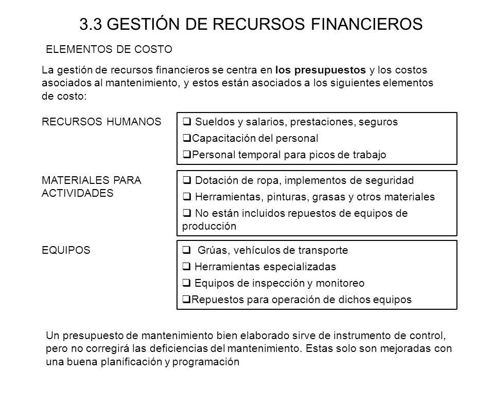 3.3 GESTIÓN DE RECURSOS FINANCIEROS La gestión de recursos financieros se centra en los presupuestos y los costos asociados al mantenimiento, y estos