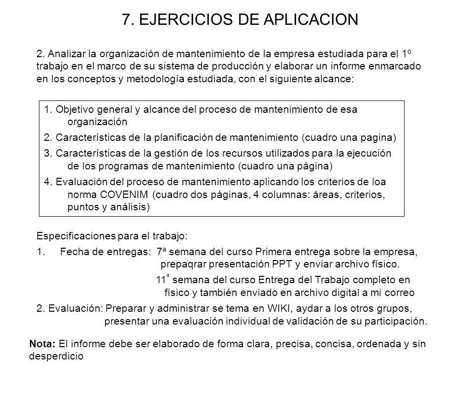 1. Objetivo general y alcance del proceso de mantenimiento de esa organización 2. Características de la planificación de mantenimiento (cuadro una pag