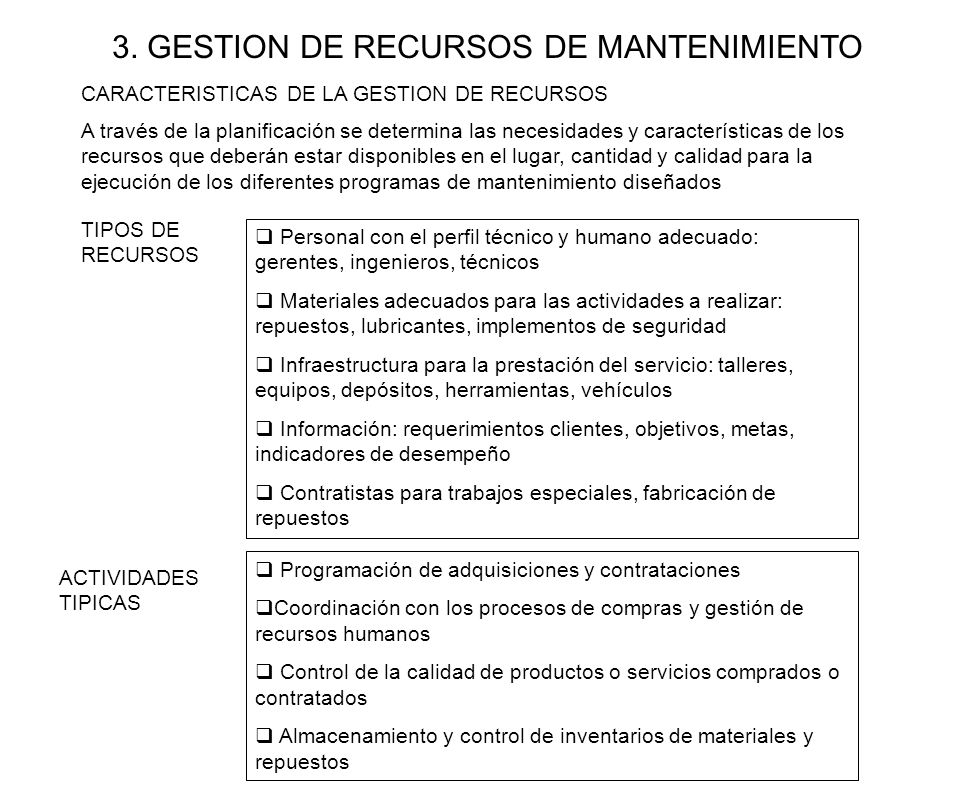 3. GESTION DE RECURSOS DE MANTENIMIENTO A través de la planificación se determina las necesidades y características de los recursos que deberán estar