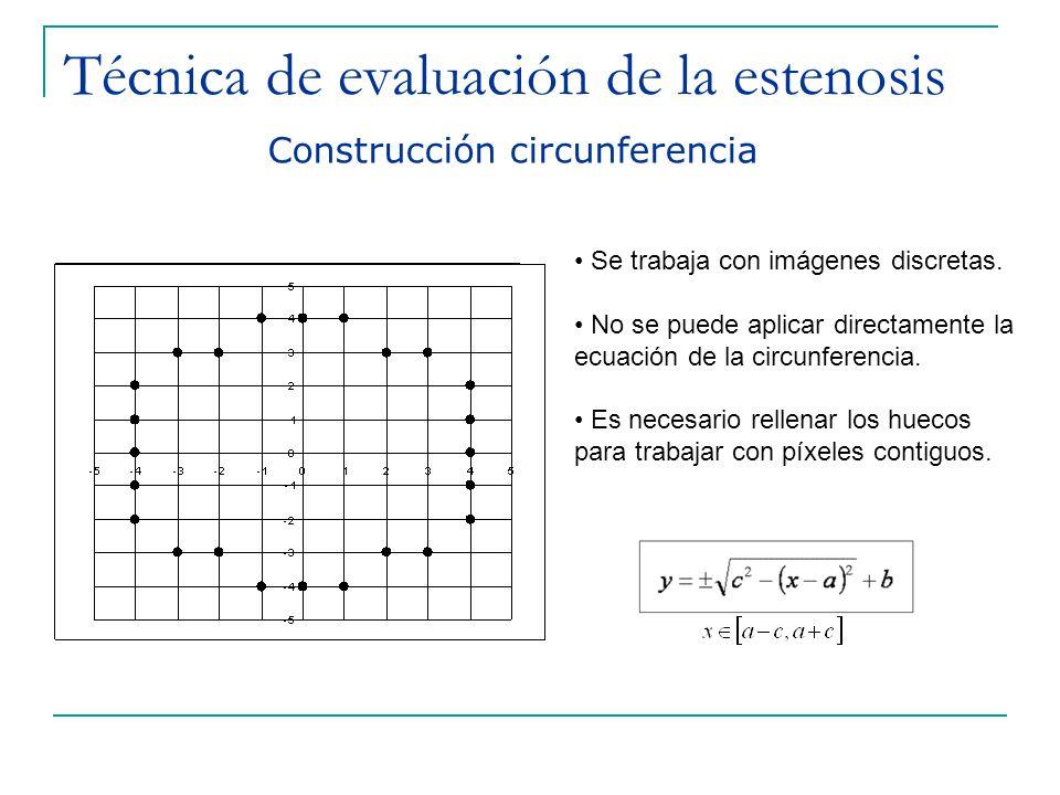 Técnica de evaluación de la estenosis Construcción circunferencia Se trabaja con imágenes discretas. No se puede aplicar directamente la ecuación de l