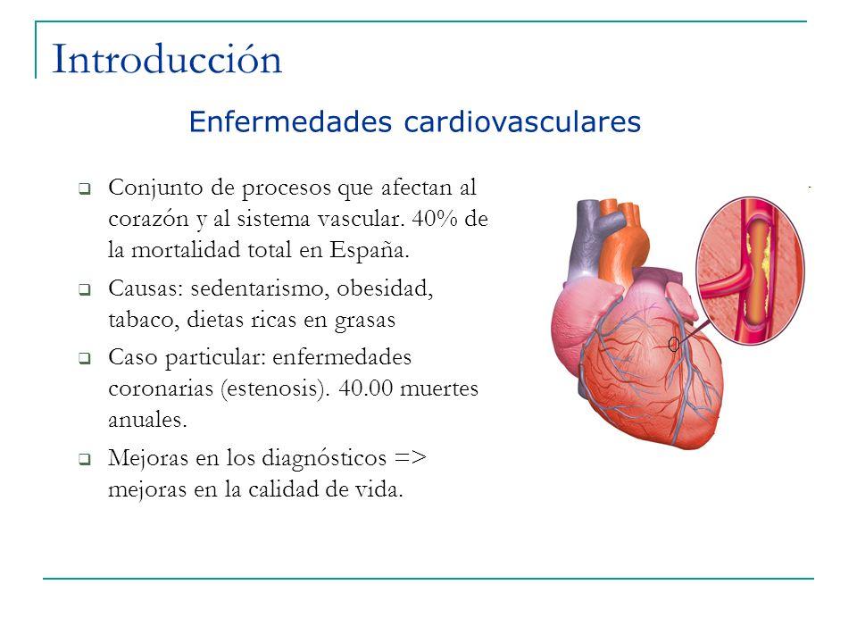 Introducción Conjunto de procesos que afectan al corazón y al sistema vascular. 40% de la mortalidad total en España. Causas: sedentarismo, obesidad,