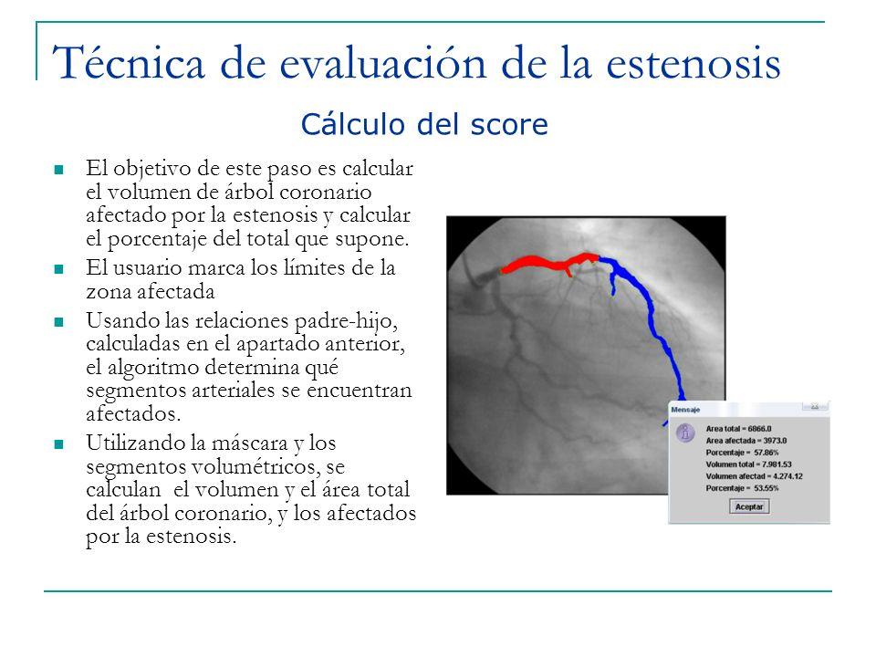 Técnica de evaluación de la estenosis El objetivo de este paso es calcular el volumen de árbol coronario afectado por la estenosis y calcular el porce