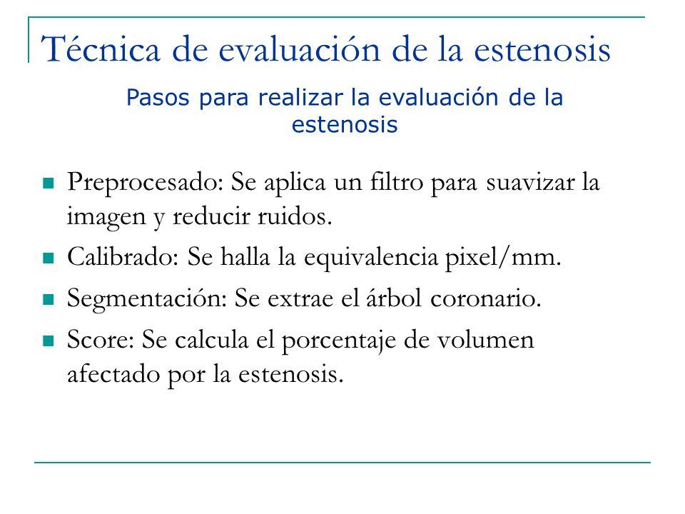Técnica de evaluación de la estenosis Preprocesado: Se aplica un filtro para suavizar la imagen y reducir ruidos. Calibrado: Se halla la equivalencia
