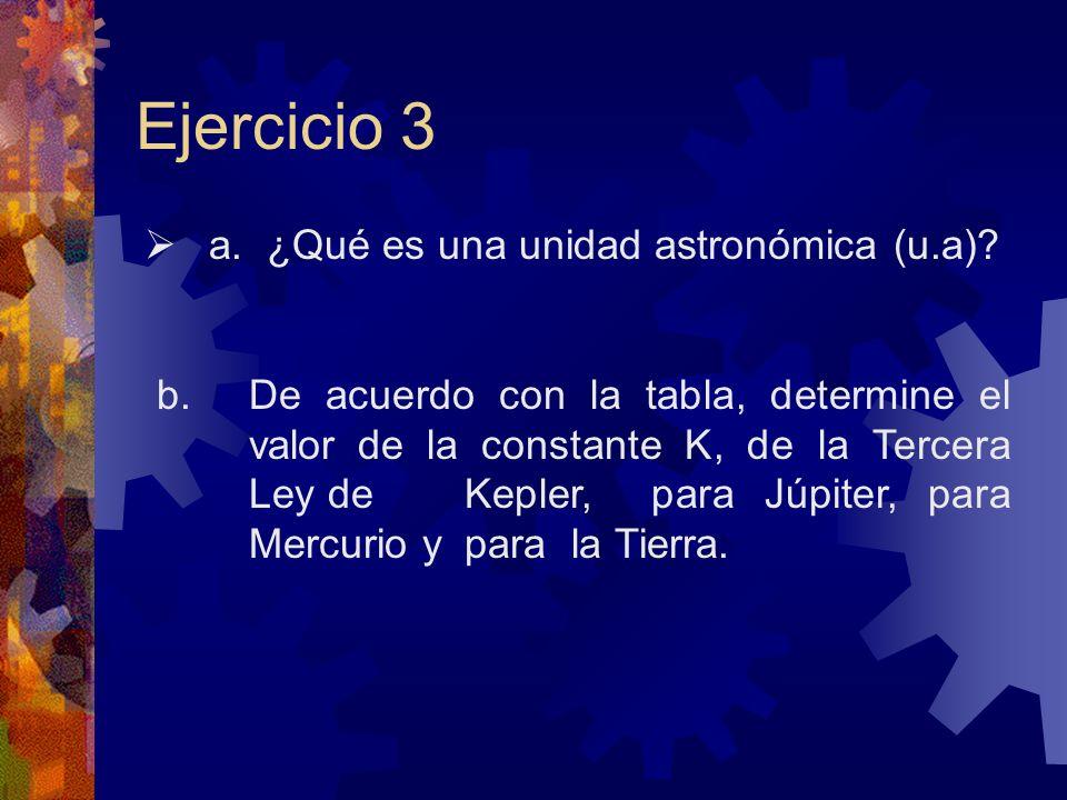 Ejercicio 3 a. ¿Qué es una unidad astronómica (u.a)? b. De acuerdo con la tabla, determine el valor de la constante K, de la Tercera Ley de Kepler, pa
