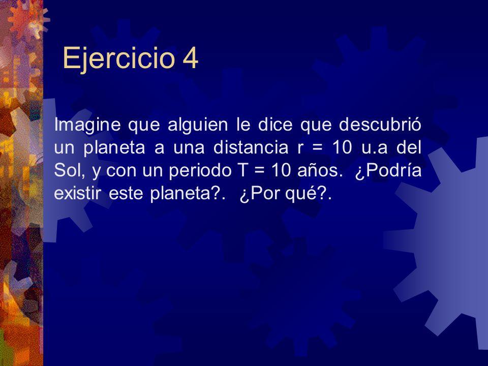 Ejercicio 4 Imagine que alguien le dice que descubrió un planeta a una distancia r = 10 u.a del Sol, y con un periodo T = 10 años. ¿Podría existir est