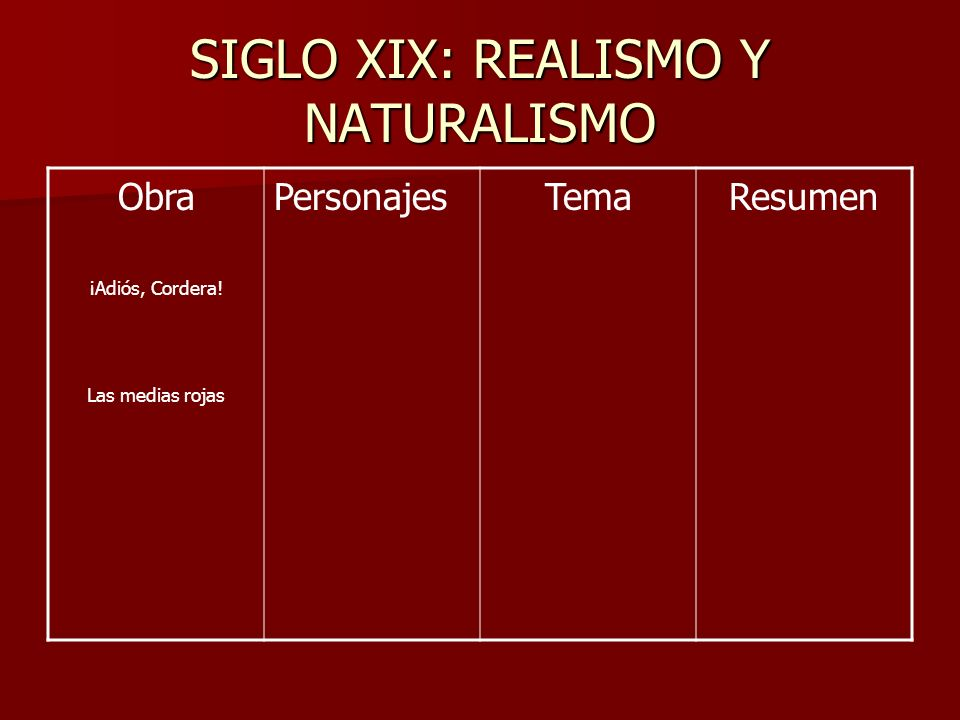 SIGLO XIX: REALISMO Y NATURALISMO Obra ¡Adiós, Cordera.
