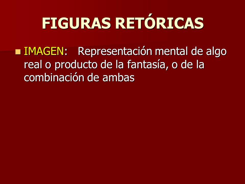 FIGURAS RETÓRICAS IMAGEN: Representación mental de algo real o producto de la fantasía, o de la combinación de ambas IMAGEN: Representación mental de