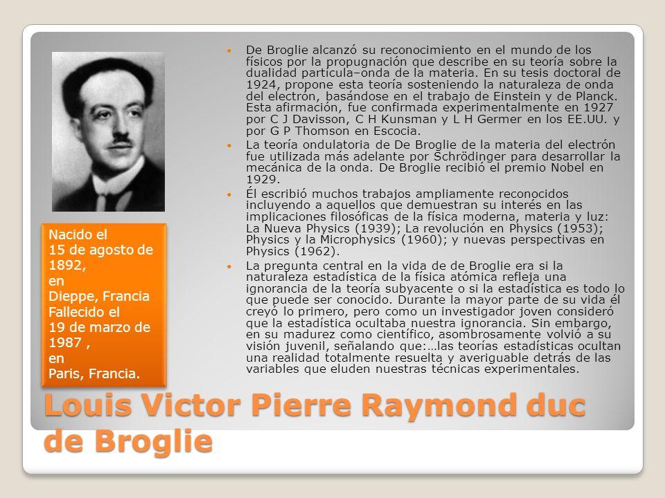 Louis Victor Pierre Raymond duc de Broglie De Broglie alcanzó su reconocimiento en el mundo de los físicos por la propugnación que describe en su teor