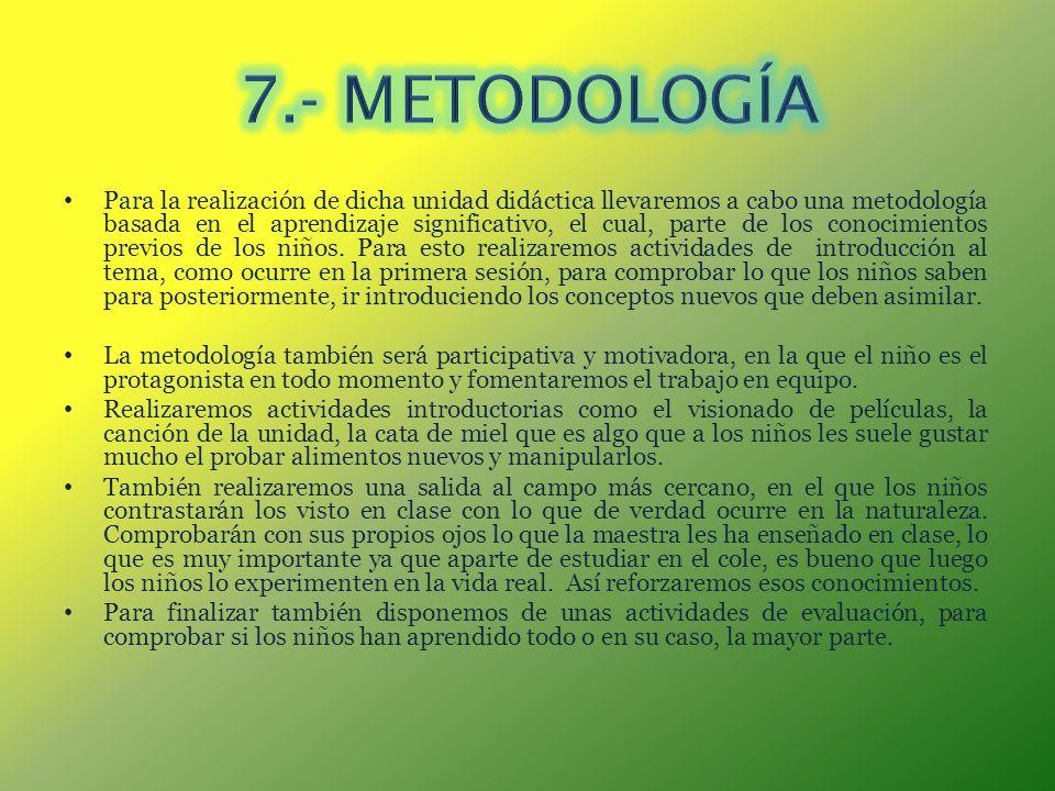 Para la realización de dicha unidad didáctica llevaremos a cabo una metodología basada en el aprendizaje significativo, el cual, parte de los conocimi