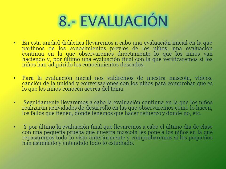 En esta unidad didáctica llevaremos a cabo una evaluación inicial en la que partimos de los conocimientos previos de los niños, una evaluación continu
