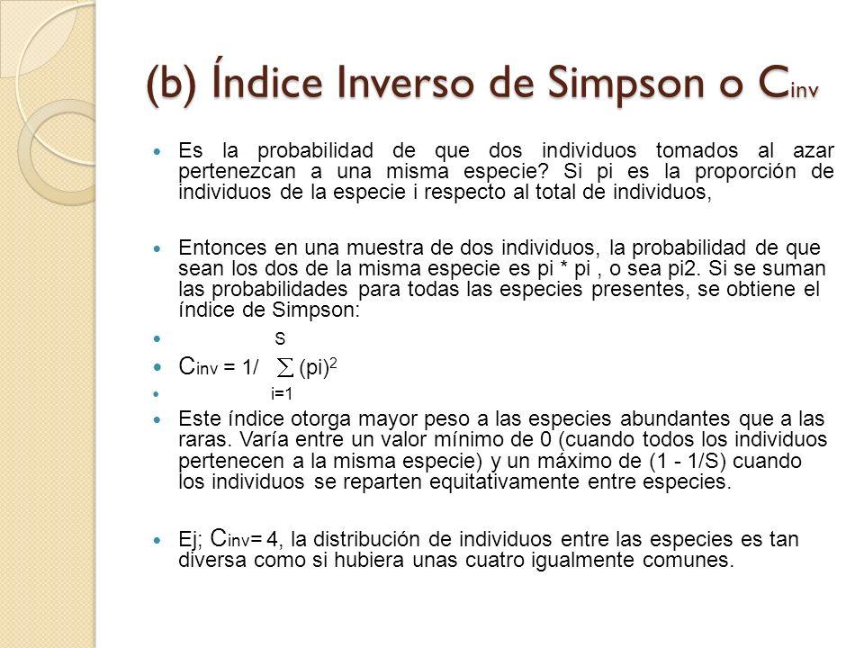 (b) Índice Inverso de Simpson o C inv Es la probabilidad de que dos individuos tomados al azar pertenezcan a una misma especie? Si pi es la proporción