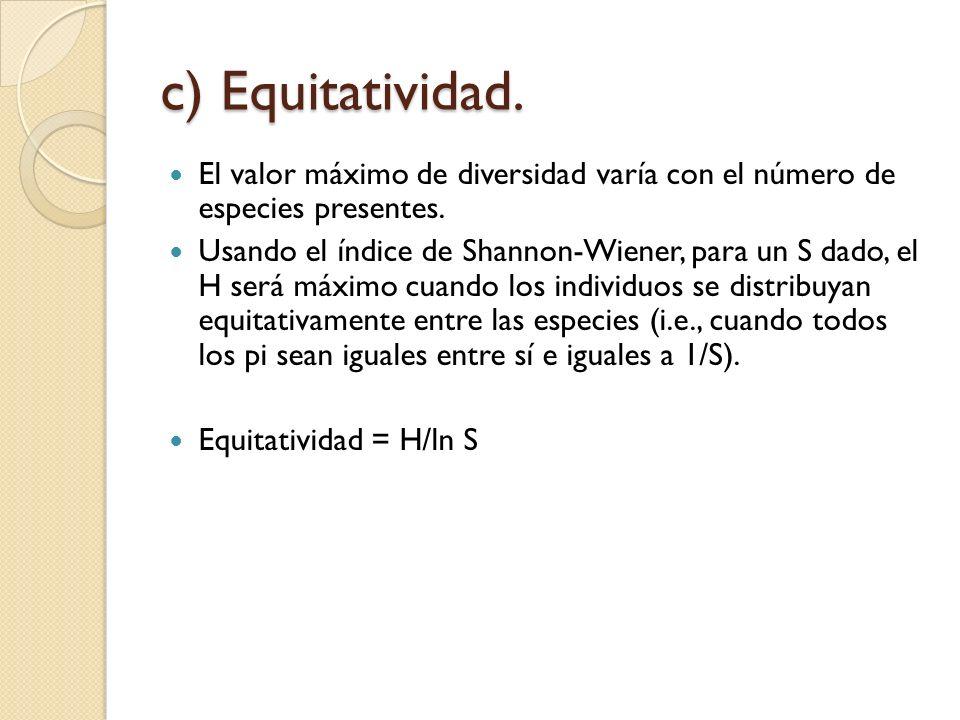 c) Equitatividad. El valor máximo de diversidad varía con el número de especies presentes. Usando el índice de Shannon-Wiener, para un S dado, el H se