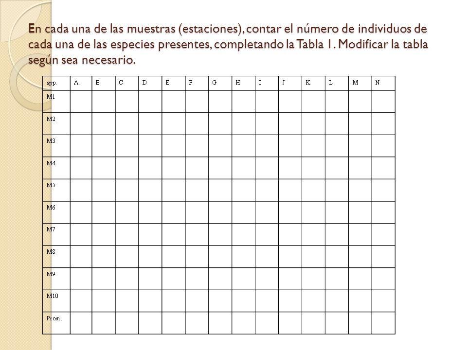 En cada una de las muestras (estaciones), contar el número de individuos de cada una de las especies presentes, completando la Tabla 1. Modificar la t