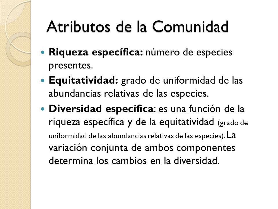 Atributos de la Comunidad Riqueza específica: número de especies presentes. Equitatividad: grado de uniformidad de las abundancias relativas de las es