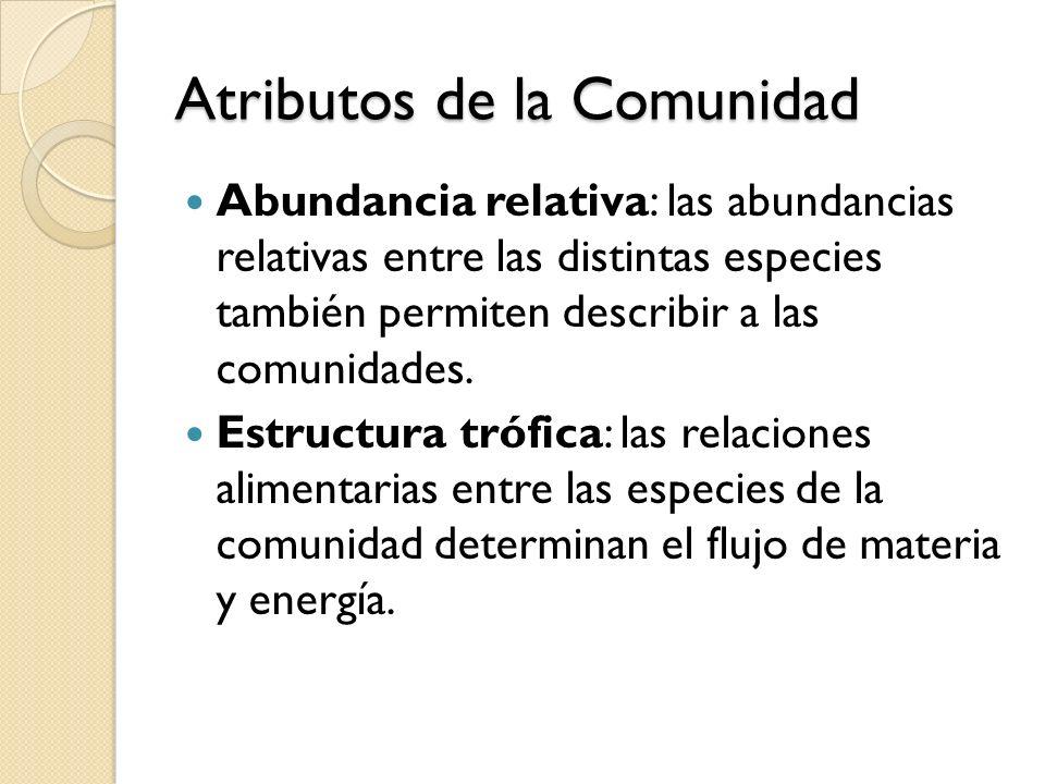 Atributos de la Comunidad Abundancia relativa: las abundancias relativas entre las distintas especies también permiten describir a las comunidades. Es