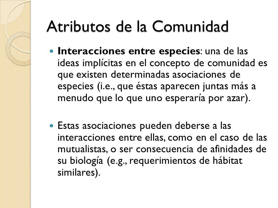 Atributos de la Comunidad Interacciones entre especies: una de las ideas implícitas en el concepto de comunidad es que existen determinadas asociacion