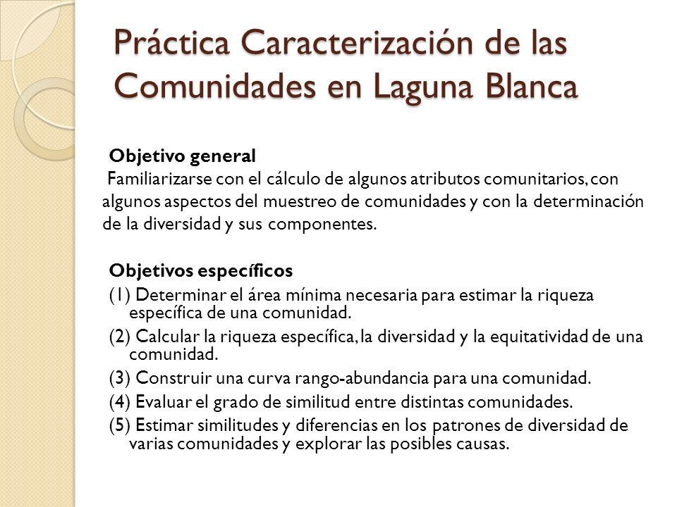 Práctica Caracterización de las Comunidades en Laguna Blanca Objetivo general Familiarizarse con el cálculo de algunos atributos comunitarios, con alg