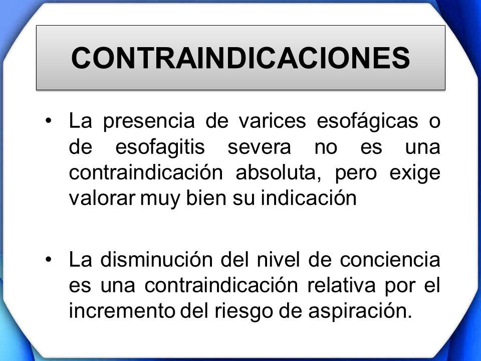 CONTRAINDICACIONES La presencia de varices esofágicas o de esofagitis severa no es una contraindicación absoluta, pero exige valorar muy bien su indic