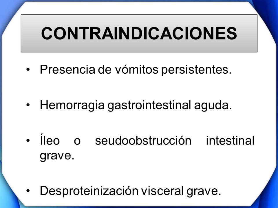 CONTRAINDICACIONES Presencia de vómitos persistentes. Hemorragia gastrointestinal aguda. Íleo o seudoobstrucción intestinal grave. Desproteinización v