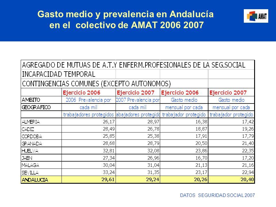 Gasto medio y prevalencia en Andalucía en el colectivo de AMAT 2006 2007 DATOS SEGURIDAD SOCIAL 2007