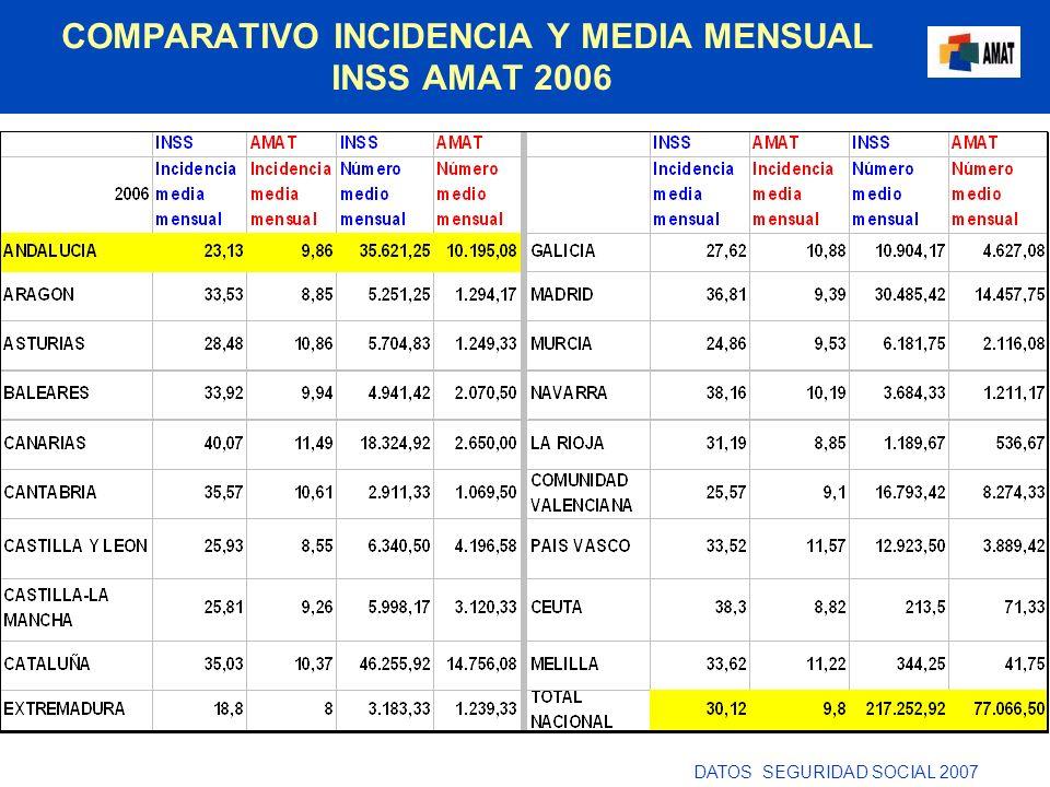 COMPARATIVO INCIDENCIA Y MEDIA MENSUAL INSS AMAT 2006 DATOS SEGURIDAD SOCIAL 2007
