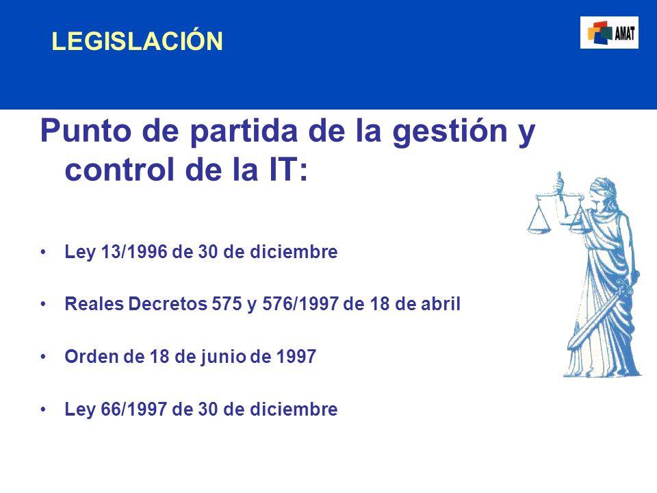 LEGISLACIÓN Punto de partida de la gestión y control de la IT: Ley 13/1996 de 30 de diciembre Reales Decretos 575 y 576/1997 de 18 de abril Orden de 1