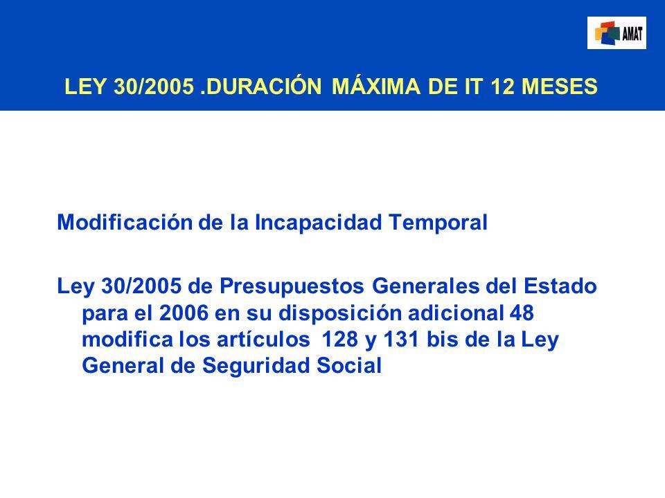 LEY 30/2005.DURACIÓN MÁXIMA DE IT 12 MESES Modificación de la Incapacidad Temporal Ley 30/2005 de Presupuestos Generales del Estado para el 2006 en su