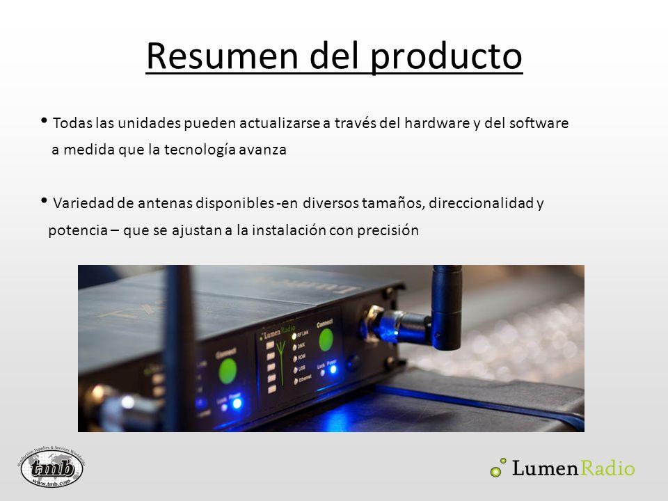Resumen del producto Todas las unidades pueden actualizarse a través del hardware y del software a medida que la tecnología avanza Variedad de antenas