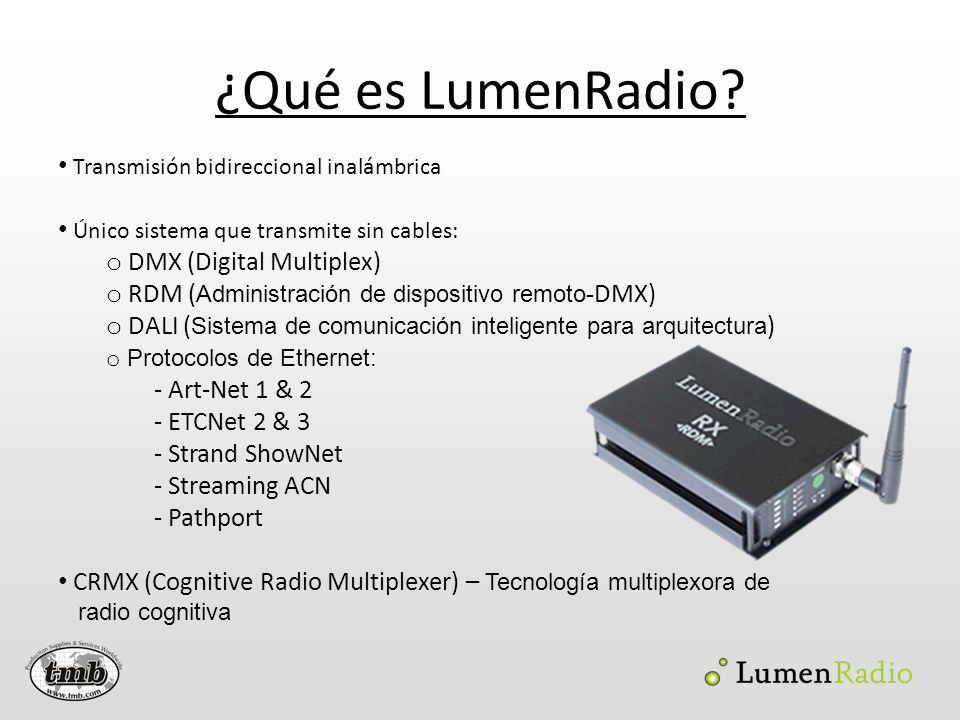 ¿Qué es LumenRadio? Transmisión bidireccional inalámbrica Único sistema que transmite sin cables: o DMX (Digital Multiplex) o RDM ( Administración de