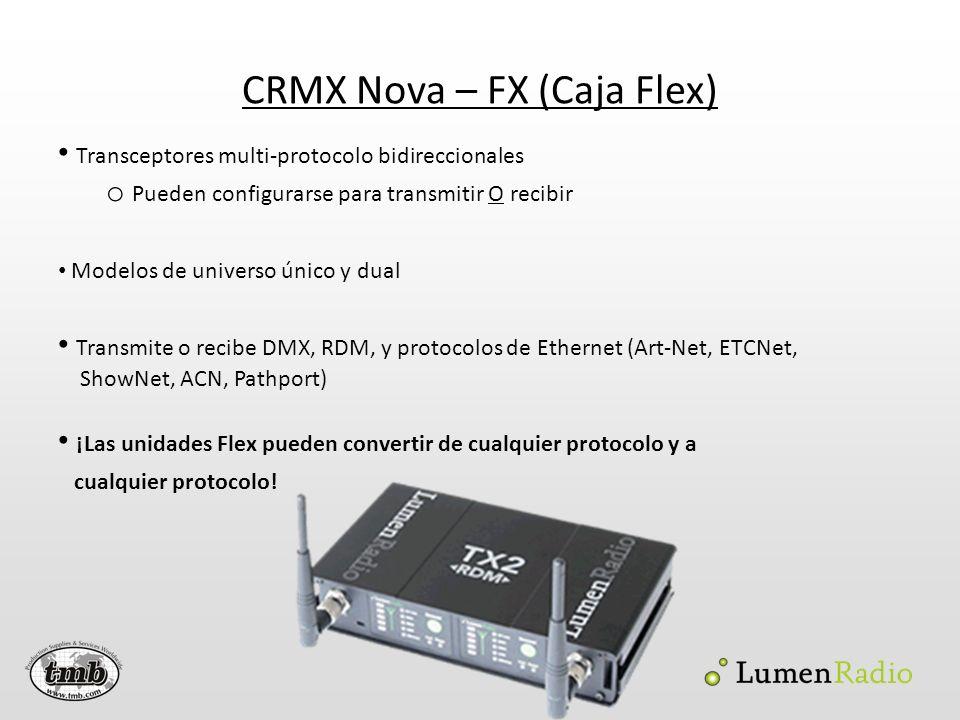 CRMX Nova – FX (Caja Flex) Transceptores multi-protocolo bidireccionales o Pueden configurarse para transmitir O recibir Modelos de universo único y d