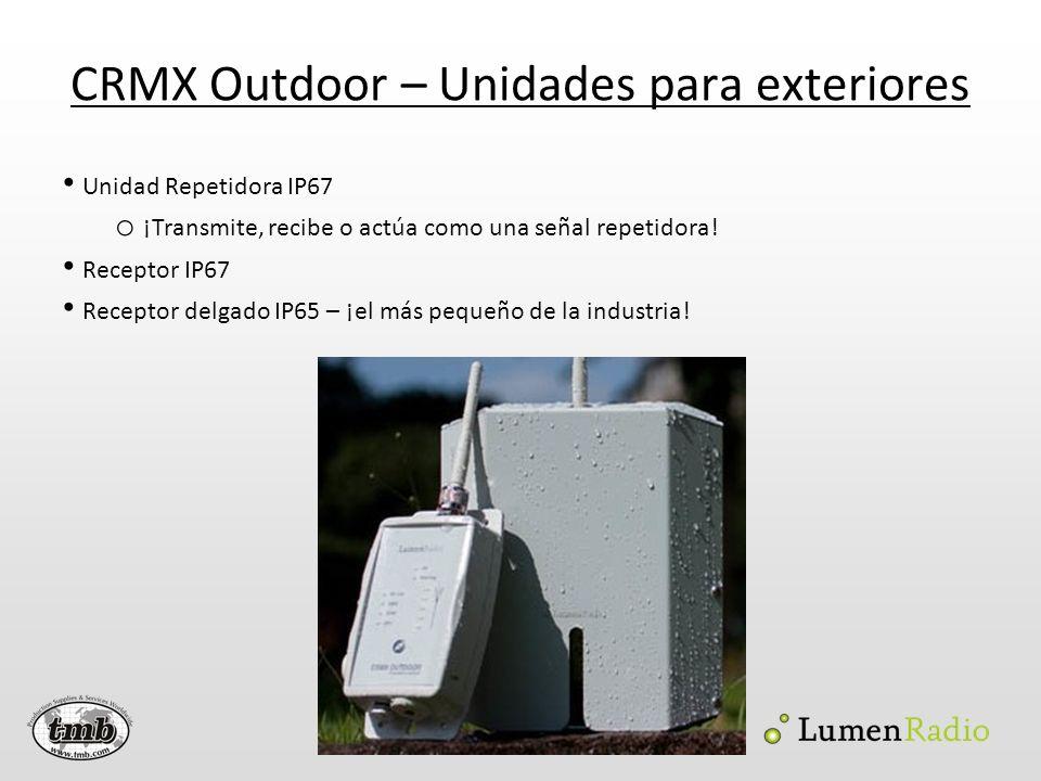 CRMX Outdoor – Unidades para exteriores Unidad Repetidora IP67 o ¡Transmite, recibe o actúa como una señal repetidora! Receptor IP67 Receptor delgado