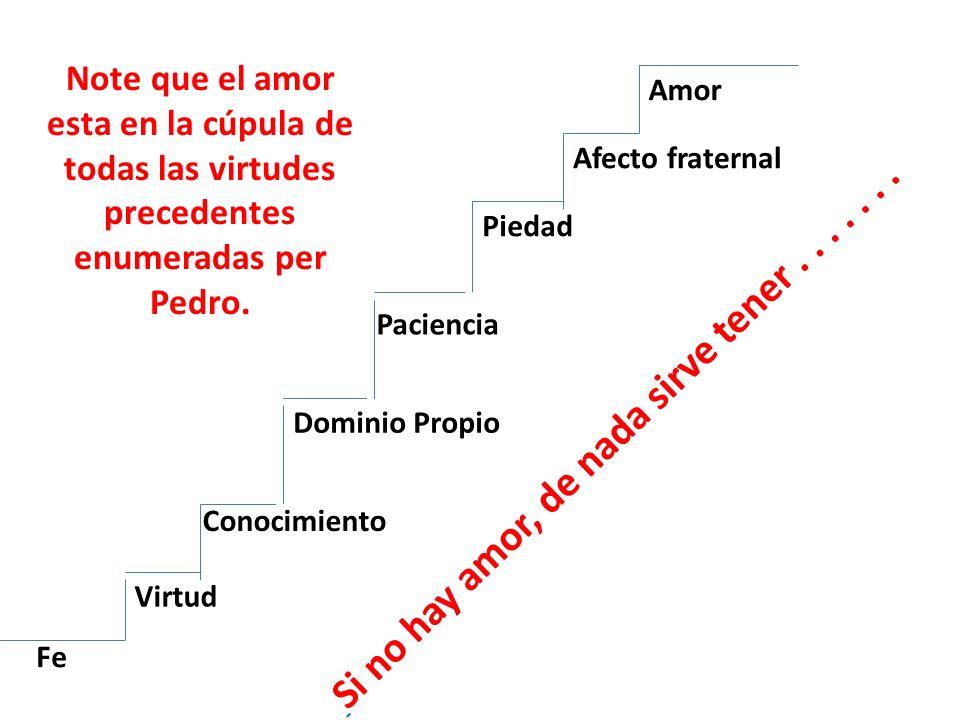 Fe Virtud Conocimiento Dominio Propio Paciencia Piedad Afecto fraternal Amor Note que el amor esta en la cúpula de todas las virtudes precedentes enum