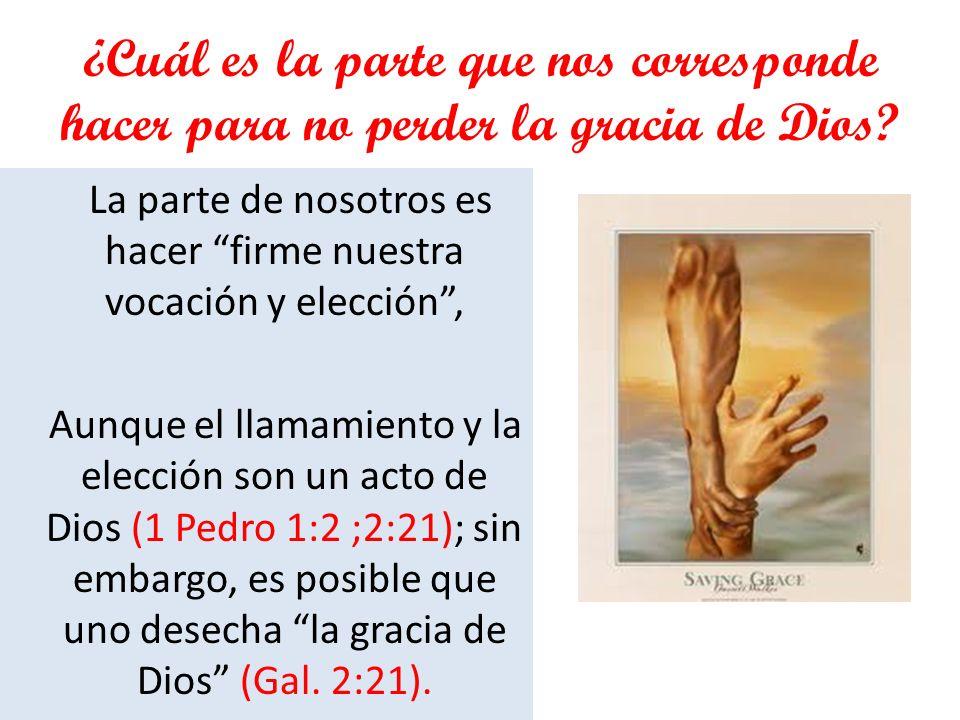 ¿Cuál es la parte que nos corresponde hacer para no perder la gracia de Dios? La parte de nosotros es hacer firme nuestra vocación y elección, Aunque
