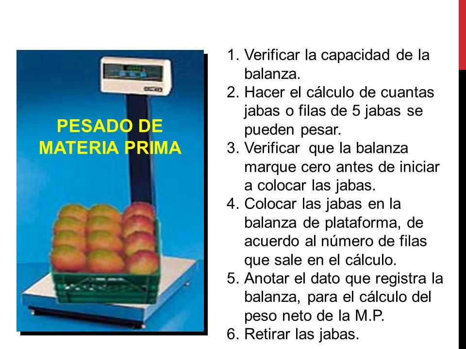 PESADO DE MATERIA PRIMA 1.Verificar la capacidad de la balanza. 2.Hacer el cálculo de cuantas jabas o filas de 5 jabas se pueden pesar. 3.Verificar qu