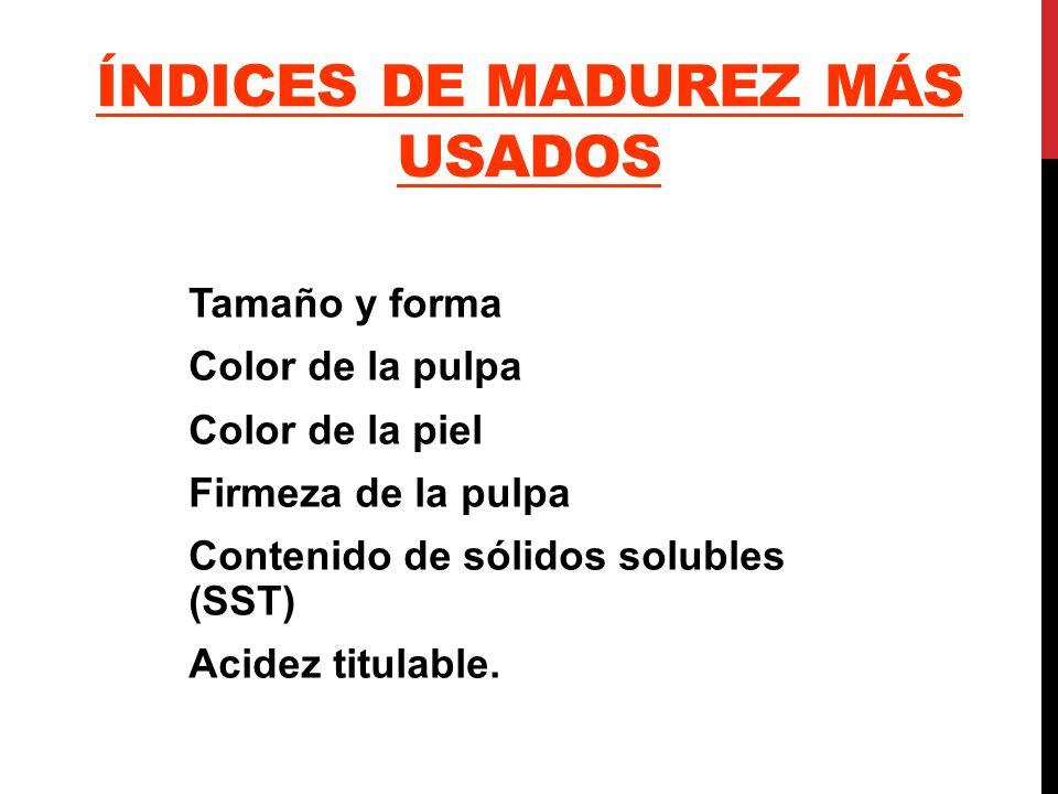 ÍNDICES DE MADUREZ MÁS USADOS Tamaño y forma Color de la pulpa Color de la piel Firmeza de la pulpa Contenido de sólidos solubles (SST) Acidez titulab