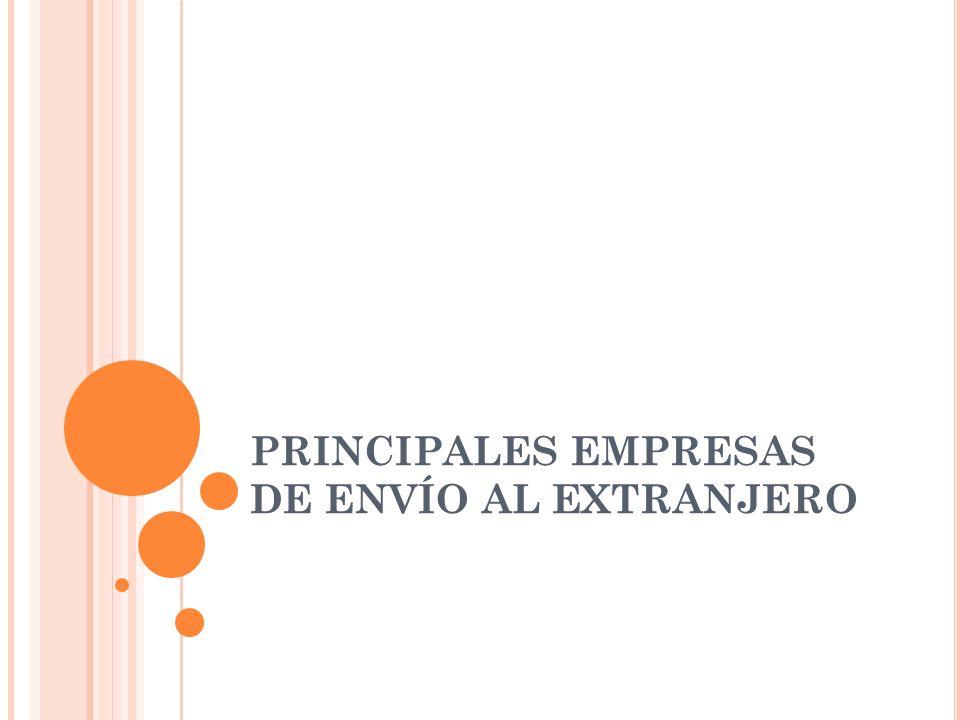 PRINCIPALES EMPRESAS DE ENVÍO AL EXTRANJERO