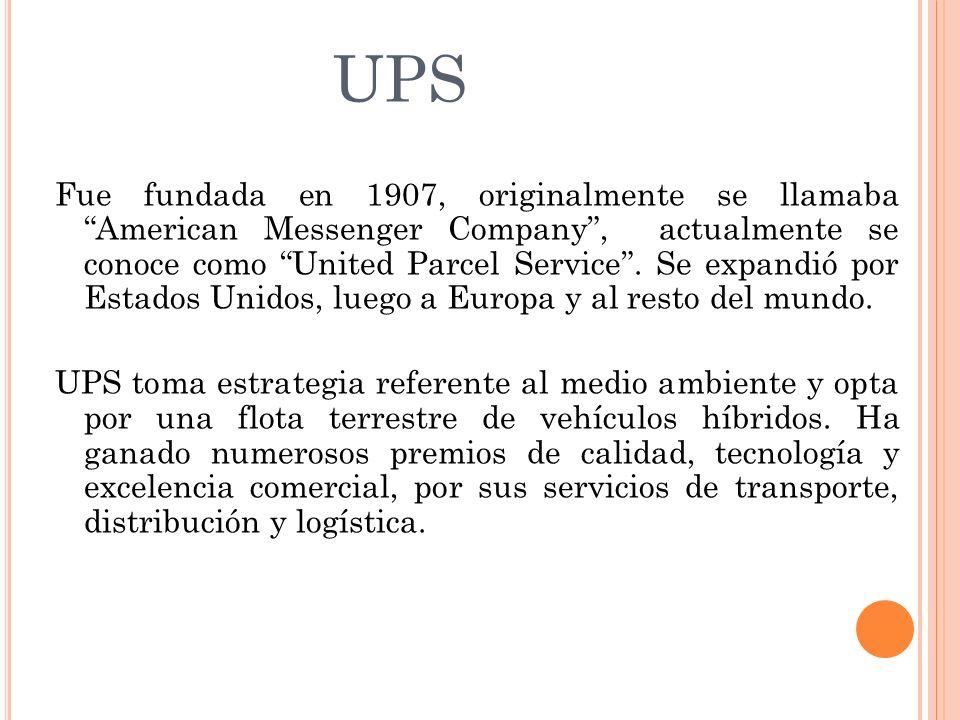 UPS Fue fundada en 1907, originalmente se llamaba American Messenger Company, actualmente se conoce como United Parcel Service. Se expandió por Estado