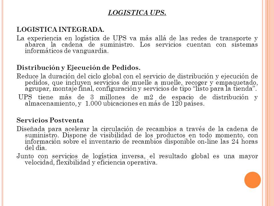 LOGISTICA UPS. LOGISTICA INTEGRADA. La experiencia en logística de UPS va más allá de las redes de transporte y abarca la cadena de suministro. Los se