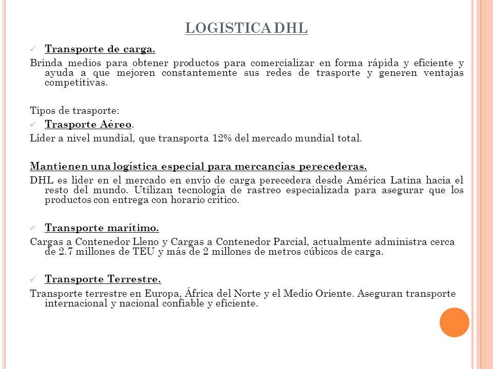 LOGISTICA DHL Transporte de carga. Brinda medios para obtener productos para comercializar en forma rápida y eficiente y ayuda a que mejoren constante