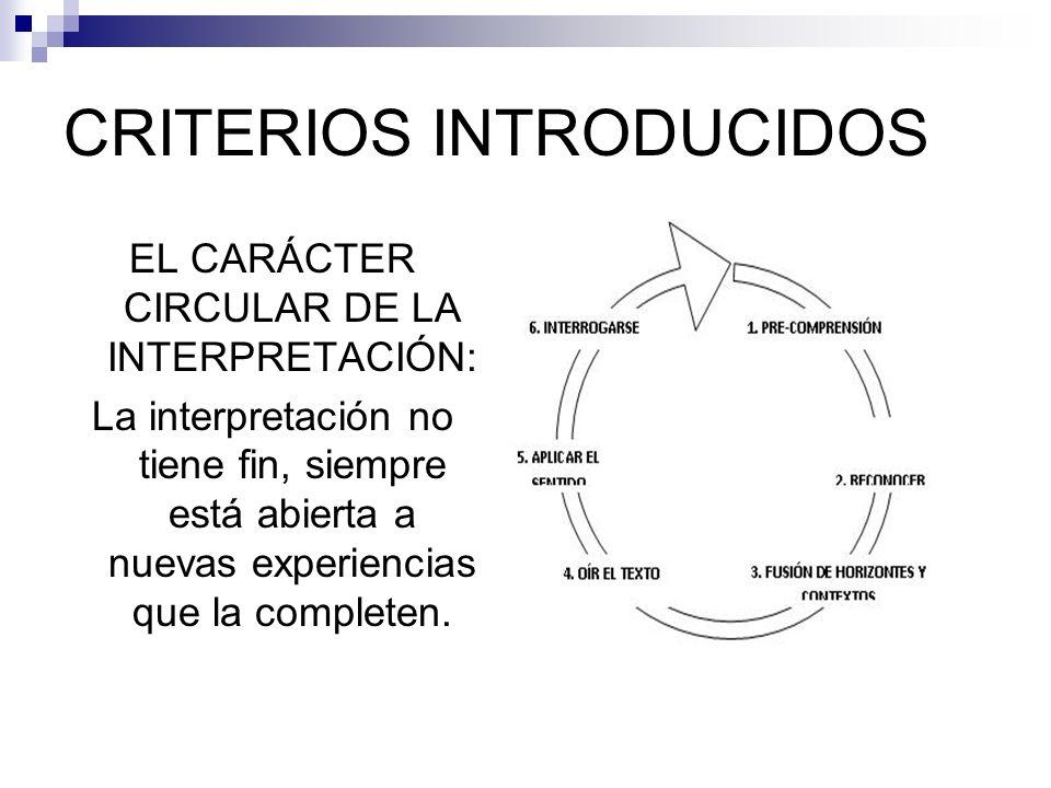 CRITERIOS INTRODUCIDOS EL CARÁCTER CIRCULAR DE LA INTERPRETACIÓN: La interpretación no tiene fin, siempre está abierta a nuevas experiencias que la co