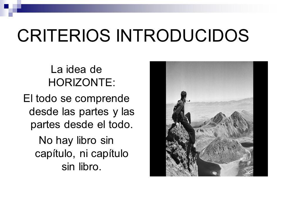 CRITERIOS INTRODUCIDOS La idea de HORIZONTE: El todo se comprende desde las partes y las partes desde el todo. No hay libro sin capítulo, ni capítulo