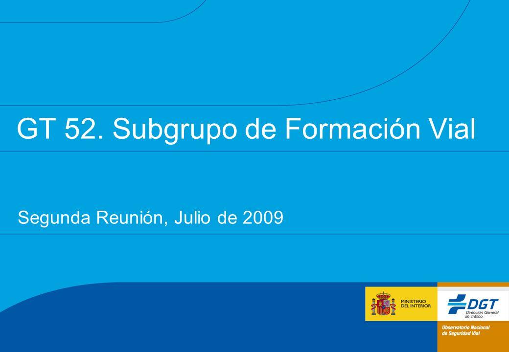 GT 52. Subgrupo de Formación Vial Segunda Reunión, Julio de 2009