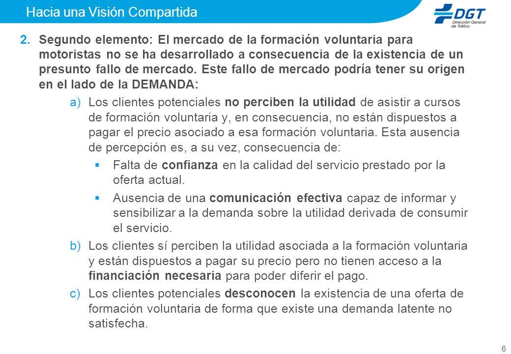 6 Hacia una Visión Compartida Segundo elemento: El mercado de la formación voluntaria para motoristas no se ha desarrollado a consecuencia de la existencia de un presunto fallo de mercado.