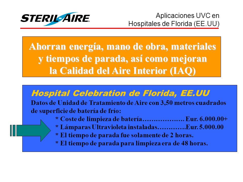 Ahorran energía, mano de obra, materiales y tiempos de parada, así como mejoran la Calidad del Aire Interior (IAQ) Hospital Celebration de Florida, EE