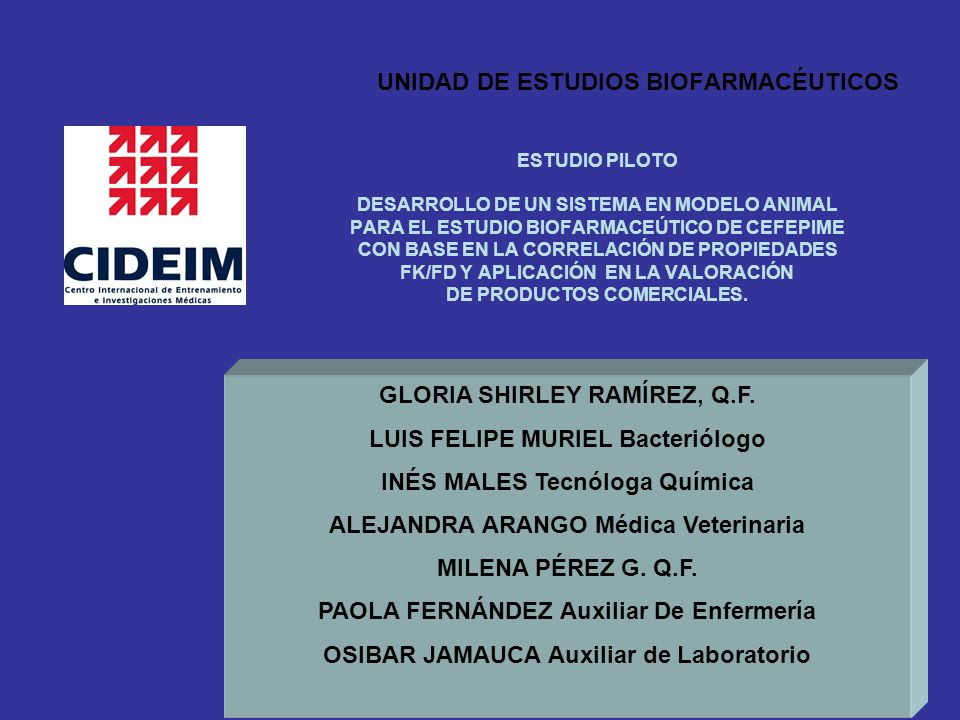 UNIDAD DE ESTUDIOS BIOFARMACÉUTICOS ESTUDIO PILOTO DESARROLLO DE UN SISTEMA EN MODELO ANIMAL PARA EL ESTUDIO BIOFARMACEÚTICO DE CEFEPIME CON BASE EN LA CORRELACIÓN DE PROPIEDADES FK/FD Y APLICACIÓN EN LA VALORACIÓN DE PRODUCTOS COMERCIALES.