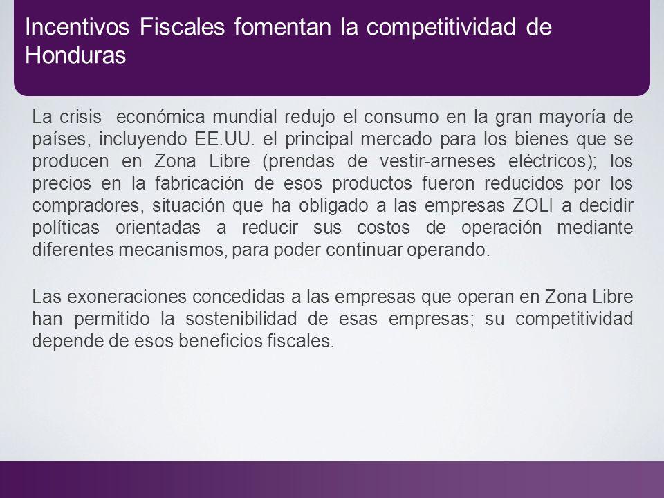 Incentivos Fiscales fomentan la competitividad de Honduras La crisis económica mundial redujo el consumo en la gran mayoría de países, incluyendo EE.U