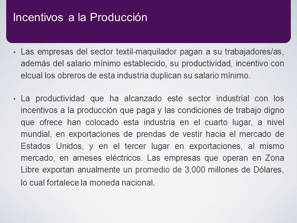 Las empresas del sector textil-maquilador pagan a su trabajadores/as, además del salario mínimo establecido, su productividad, incentivo con elcual lo