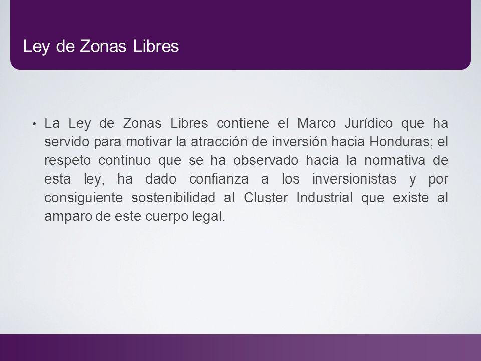 Ley de Zonas Libres La Ley de Zonas Libres contiene el Marco Jurídico que ha servido para motivar la atracción de inversión hacia Honduras; el respeto