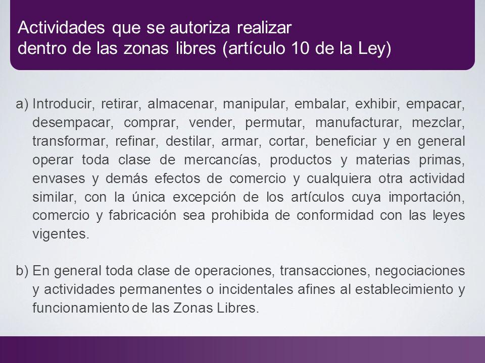Actividades que se autoriza realizar dentro de las zonas libres (artículo 10 de la Ley) a) Introducir, retirar, almacenar, manipular, embalar, exhibir