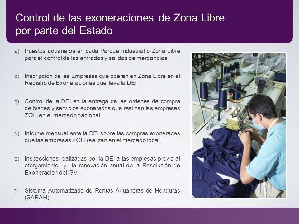 Control de las exoneraciones de Zona Libre por parte del Estado a) Puestos aduaneros en cada Parque Industrial o Zona Libre para el control de las ent